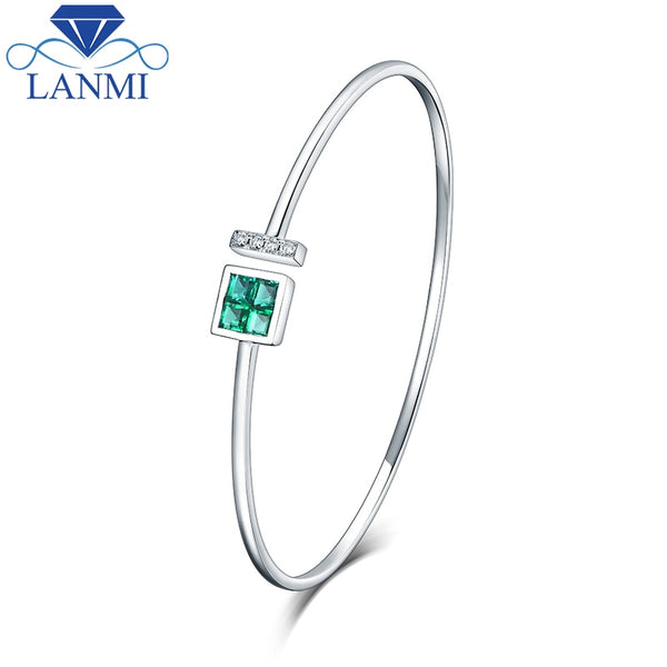 Wholesale Real 14K White Gold Natural Colombia Emerald Bracelet Charming Bangle Diamond Jewelry For Women Anniversary Gift - Creative Dreamscape