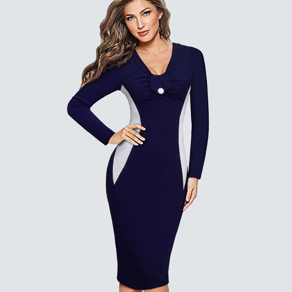 Elegant ColorBlock Contrast Patchwork Long Sleeve Button Bodycon Pencil Dress Women Casual Work Office Business Dress HB349 - Creative Dreamscape