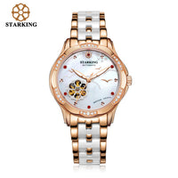 STARKING White Ceramic Women Watches Bracelet Sapphire Crystal Shell Dial Ladies Hollow Self-wind Mechanical Watch Elegance Relo - Creative Dreamscape