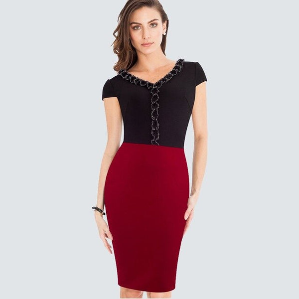 Women Work Office Business Stylish Ruffles V-neck Sheath Colorblocked Bodycon Dress Summer Patchwork Casual Ladies Dress HB395 - Creative Dreamscape