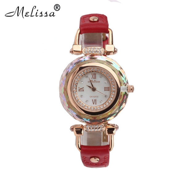 Luxury Melissa Lady Women's Watch Mother Pearl Luxury Rhinestone Crystal Fashion Hours Dress Bracelet Leather Birthday Gift - Creative Dreamscape