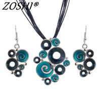 ZOSHI Fashon Colorful Enamel African Jewelry Sets For Women Gem Multilayers Leather Pendant Necklaces Earrings Wedding Sets - Creative Dreamscape