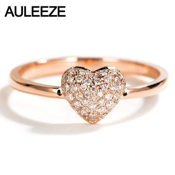 AULEEZE 18K Solid Rose Gold Diamond Wedding Ring Real Natural Diamond Heart Shape Bands For Women Fine Jewelry Valentine Gift - Creative Dreamscape