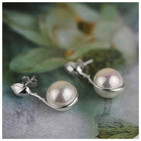 Sterling Silver Handmade Lotus Flower Mother of Pearl Dangle Earrings - Creative Dreamscape