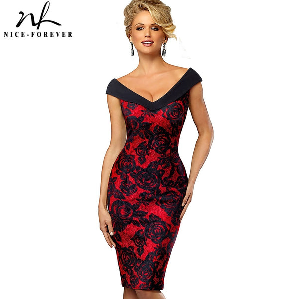Nice-forever Vintage Contrast Color Elegant Flower Dress - Creative Dreamscape