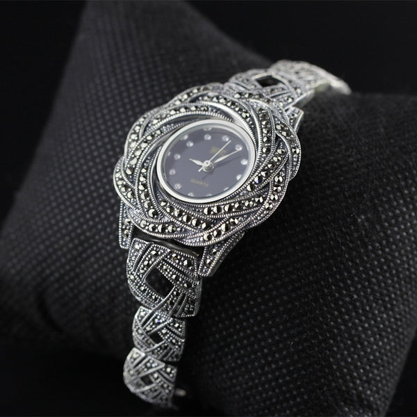 New Limited Edition Classic Elegant S925 Silver Pure Thai Silver Bracelet Watches Thailand Process Rhinestone Bangle Dresswatch - Creative Dreamscape