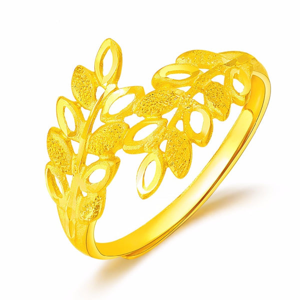 Pure 24K Yellow Gold Flower Ring Women's Ring - Creative Dreamscape