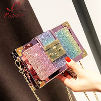 Luxury Fashion Gradient Color Sequins Box Style Female Party Clutch Bag Shoulder Bag Chain Purse Crossbody Mini Messenger Bag - Creative Dreamscape