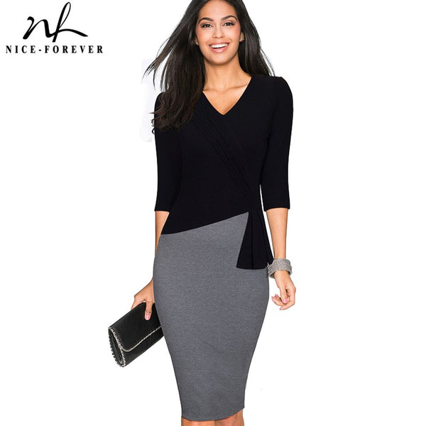Nice-forever Mature Elegant V-neck vestidos Wiggle Work dress Office Bodycon 3/4 Sleeve Sheath Women Business Dress B333 - Creative Dreamscape
