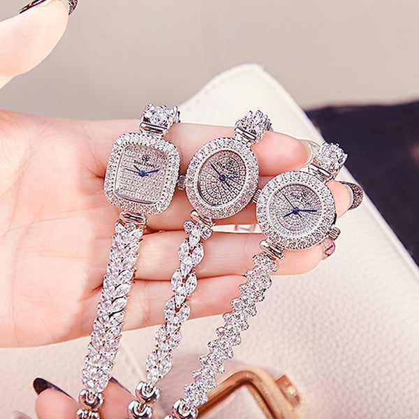 Full Crystal Women's Watch Japan Quartz Fashion Luxury Jewelry Hours Bracelet Rhinestone Girl's Birthday Gift Royal Crown Box - Creative Dreamscape