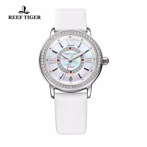 Reef Tiger/RT Fashion Elegant Watches for Women Ronda 763 Quartz Watch with Diamonds Bezel MOP Dial Calfskin Leather RGA1563 - Creative Dreamscape