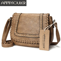 Annmouler Fashion Women Shoulder Bag Pu Leather Crossbody Bag Solid Color Brand Purse Small Khaki Messenger Bag for Ladies - Creative Dreamscape