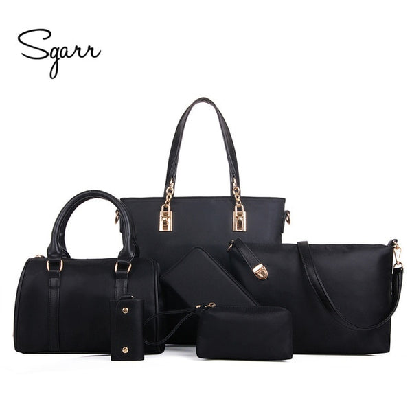 SGARR Luxury Women Handbag Shoulder Bags Fashion Nylon 6 Pieces Sets Composite Bags Large Capacity Tote Bag For Women Clutch - Creative Dreamscape