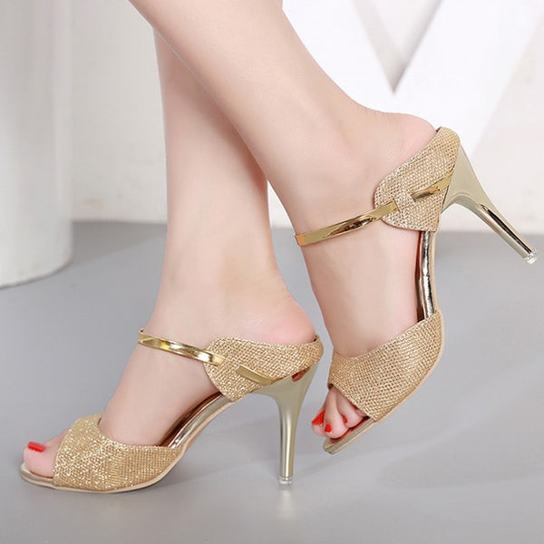LAKESHI Summer Women Pumps Small Heels Wedding Shoes Gold Silver Stiletto High Heels Peep Toe Women Heel Sandals Ladies Shoes - Creative Dreamscape