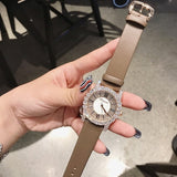 Hot Sale Rose Gold Diamond Lady Watch Woman New Dress Watches New Luxury Leather Strap Women Quartz Watches Clock reloj mujer - Creative Dreamscape