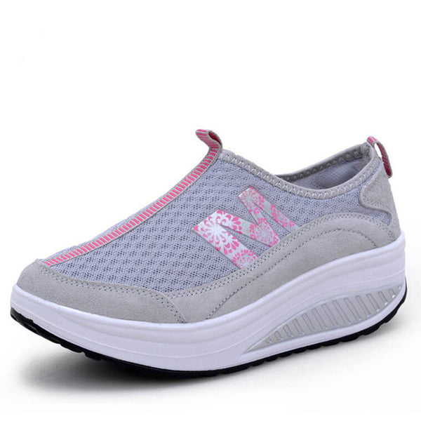 WDZKN Women Casual Shoes Lightweight Slip On Wedge Platform Sneakers Women Breathable Air Mesh Summer Swing Shoes Tenis Feminino - Creative Dreamscape
