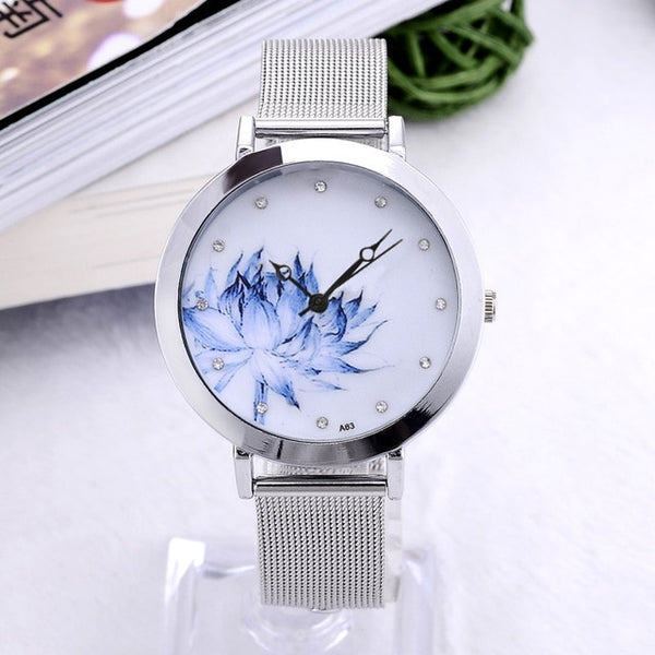 Women Dress Watch Eiffel Tower Flower Quartz Wristwatch New Fashion Stainless Steel Butterfly Watches Elegant Mujer Relojes - Creative Dreamscape
