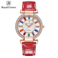 Royal Crown Large Lady Women's Watch Japan Quartz Crystal Hours Fine Fashion Dress Bracelet Leather Luxury Rhinestone Gift Box - Creative Dreamscape