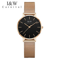Carnival Ultra-Thin Gold Watch Women Stainless Steel Watches New 2018 Simple Waterproof Wristwatch Clock relogio feminino 8793L - Creative Dreamscape