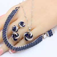 Silver Bridal Jewelry Sets For Women Round Dark Blue Crystal Bracelet Stud Earrings Necklace Pendant Rings - Creative Dreamscape