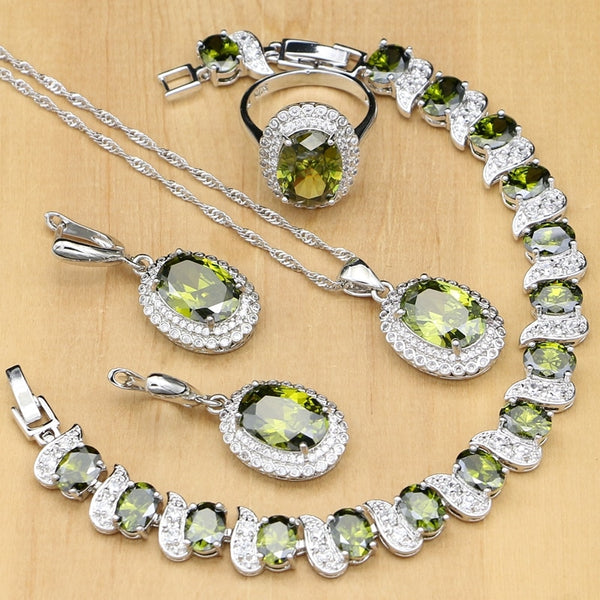 Olive Green Cubic Zirconia 925 Sterling Silver Jewelry Sets For Women Party Earrings/Pendant/Rings/Bracelet/Necklace Set - Creative Dreamscape