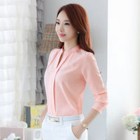 Fashion Women Full Sleeve Casual Chiffon Formal Blouse Tops Female Stand Collar V-Neck Work Wear Solid Color White Office Shirts - Creative Dreamscape