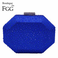 Boutique De FGG Octagon Shape Women Crystal Clutch Evening Bags Hard Case Luxury Handbags Ladies Metal Clutches Wedding Purse - Creative Dreamscape