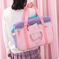 Preppy Style Pink Travel Shoulder School Bags For Women Girls Canvas Large Capacity Casual Luggage Organizer Handbags Totes - Creative Dreamscape