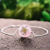 Sterling Silver Natural Stones Creative Handmade Lotus Whispers Bracelet - Creative Dreamscape