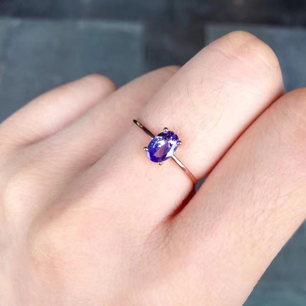 gemstone natural tanzanite ring 18K rose gold simple style fine women & girl jewelry free shipping purple color - Creative Dreamscape