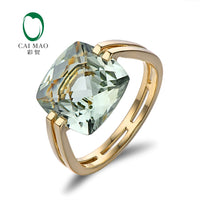 Caimao Jewelry 6.6ct Natural Square Cushion Green Amethyst 14k Gold Ring Free Shipping - Creative Dreamscape