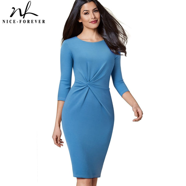 Nice-forever Vintage Pure Color Wear to Work Knot vestidos Business Party Women Elegant Office Female Bodycon Dress B476 - Creative Dreamscape