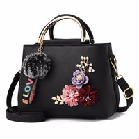 Women Bag Leather Handbag Women Shoulder Bag Tote Flowers Shell Sac A Main Femme Rivets Fur Ball Pendant Luxury Designer Ladies - Creative Dreamscape