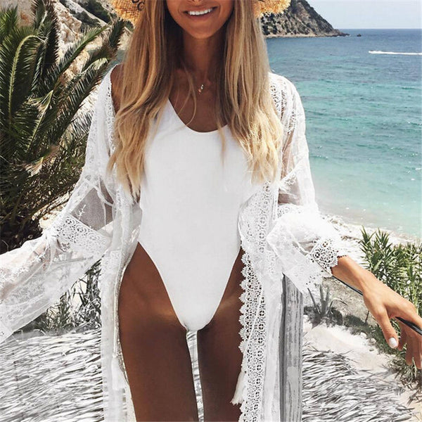 2019 Bikini Beach Cover-up Swimsuit Covers up Bathing Suit Summer Beach Wear Chiffon Cardigan Swimwear Beach Dress Tunic Robe - Creative Dreamscape