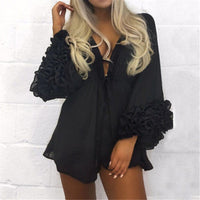 Women Sexy Beach Cover-up Long Puff Sleeve Covers up Bathing Suit Summer Beach Wear Pareo Swimwear Mesh Beach Dress Tunic Robe - Creative Dreamscape