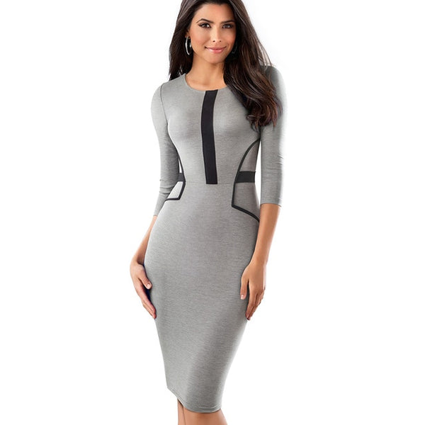 Nice-forever Vintage Brief Patchwork Wear to Work Elegant vestidos Round Neck Party Bodycon Office Business Women Dress - Creative Dreamscape