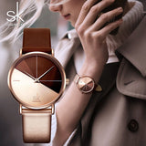 SK Luxury Leather Watches Women Creative Fashion Quartz Watches For Reloj Mujer 2018 Ladies Wrist Watch SHENGKE relogio feminino - Creative Dreamscape