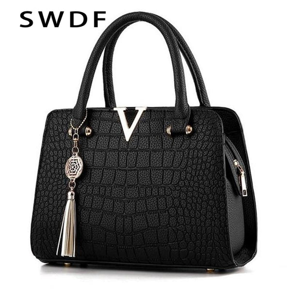 SWDF Crocodile Leather Women Tote V Letters Designer Handbags Luxury Quality Lady Shoulder Crossbody Bags Fringed Messenger Bag - Creative Dreamscape