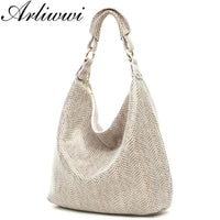 Arliwwi 100% Genuine Leather Shiny Serpentine Shoulder Bags Big Casual Soft Real Snake Embossed Skin Big Bag Handbags Women GB02 - Creative Dreamscape