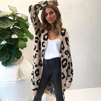 Cardigan Women Autumn Winter Coat Hot Long Leopard Sweater 6 Colors Loose Knitted Clothes For Female Causal Women Winter Sweater - Creative Dreamscape