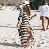 Women Wave Stripe Beach Dress Tunic 2019 Lace Crochet Bikini Cover Up Long Kaftan Sexy Summer Cardigan Beach Wear Robe de Plage - Creative Dreamscape
