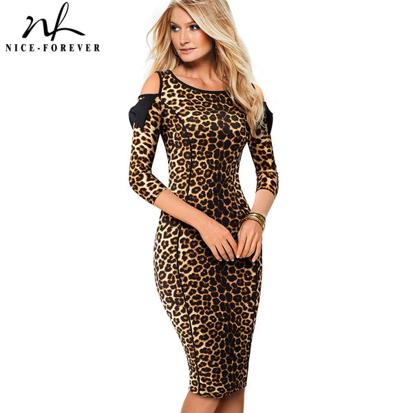 Nice-forever Vintage Leopard Printed Work vestidos Cold Shoulder with Bow Business Party Bodycon Office Women Dress B483 - Creative Dreamscape