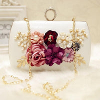 Meloke 2019 high quality luxury handmade flowers evening bags brand dinner clutch purse with chain flower banquet bags MN258 - Creative Dreamscape