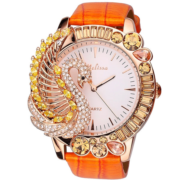 Melissa Gorgeous Jewelry Watches for Women Personalized Big Size Rhinestone Swan Watch 3D Animal Genuine Leather Montre Femme - Creative Dreamscape