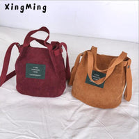 XINGMING 2019 Designer handbags high quality Women Bag Vintage Corduroy Shoulder Bags New Corduroy Bucket Shoulder Handbags - Creative Dreamscape