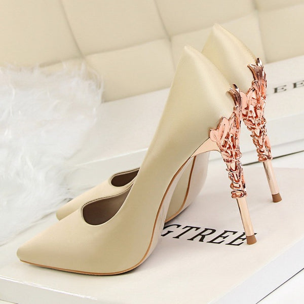 Elegant Metal Carved Heels Women Pumps 2019 High Quality Fashion Sexy Silk High Heels 13 Color 10cm Shoes Woman Wedding Shoes - Creative Dreamscape