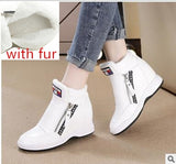SWYIVY Winter Fur Sneakers Platform Woman 2018 Autumn High Top Female Casual Shoes Wedge Side Zipper Fashion Warm Snow Sneakers - Creative Dreamscape