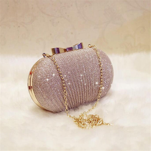 Golden Evening Clutch Bag Women Bags Wedding Shiny Handbags Bridal Metal Bow Clutches Bag Chain Shoulder Bag - Creative Dreamscape