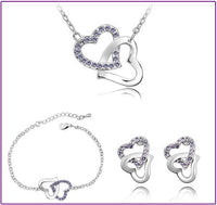 Double heart rhinestones fashion necklace earrings Jewelry Sets - Creative Dreamscape