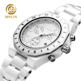 BINLUN Pure White Ceramic Women Quartz Watches Seconds Timer Auto Date Female Sports Watch Waterproof Swimming Lady Wrist Watch - Creative Dreamscape